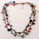 Long Style Multi Color Multi Stone Hand Knotted Necklace
