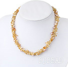 pearl yellow crystal necklace under $ 40