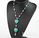 17.5 inches alaqueca and burst pattern turquoise heart necklace with lobster clasp