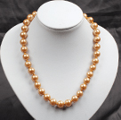 12mm Golden Brown Color Round Glass Pearl Beads Choker Necklace Jewelry