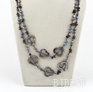 pearl shell and black stone necklace