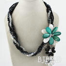 Multi Strands Black and Clear Crystal and Green Shell Flower Party Necklace