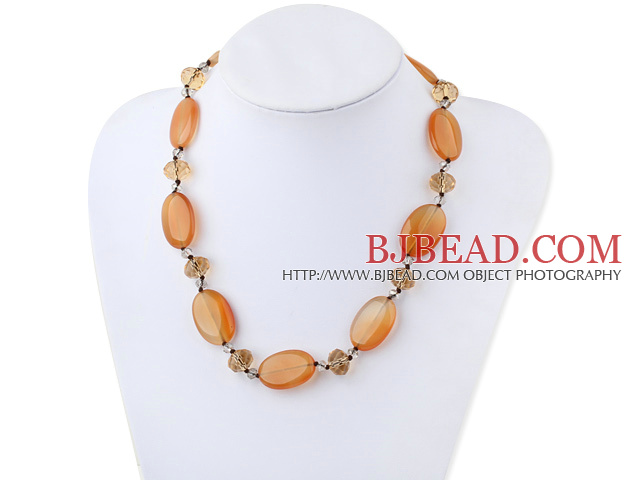 Single Strand Crystal and Visional Agate Necklace with Moonlight Clasp