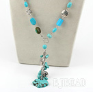 21.5 inches fashion turquoise Y shaped necklace