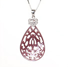 Elegant Style Drop Shape Natural Pink Purple Seashell Pearls Pendant Necklace with Sterling Silver Chain under $ 40