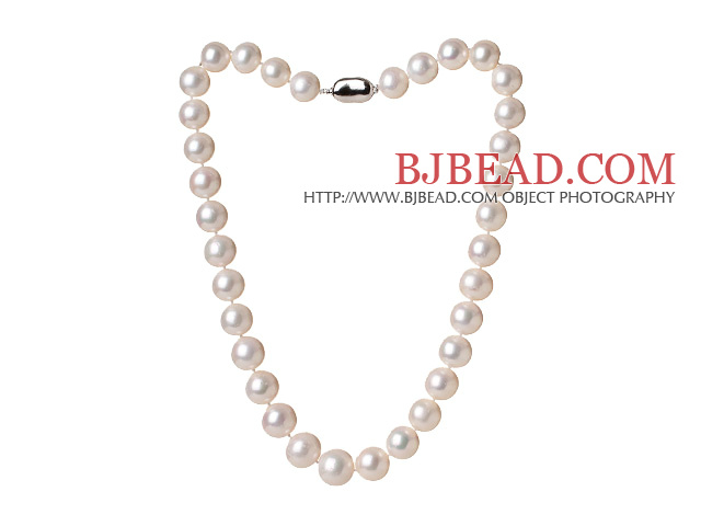 Amazing Elegant Style Single Strand Natural White Pearl Beads Necklace with New Berry Buckle