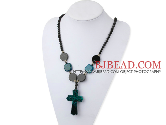black pearl phoenix stone necklace with cross pendant