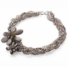 Gray Series Multi Strands Gray Pearl Crystal and Gray Shell Flower Party Necklace under $ 40