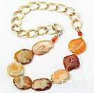 Orange Color Burst Pattern Crystallized Agate Knotted Necklace with Golden Color Metal Chain ( The Chain Can Be Deducted )