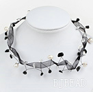 black-white crytal pearl necklace