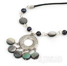 cute pearl and black lip shell necklace with extendable chain under $ 40
