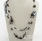 pearl crystal and black agate necklace