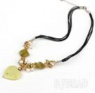 pearl crystal lemon jade necklace with extendable chain
