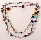 Long Style Multi Color Crystal Hand Knotted Necklace under $ 40