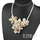 Elegant style smaller gray pearl shell flower necklace