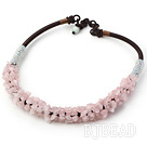 6*8mm rose quartze chips beaded necklace
