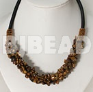 6*8mm tiger eye chips beaded necklace