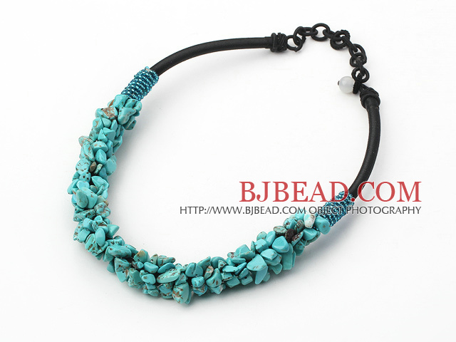 6*8mm turquoise chips beaded necklace