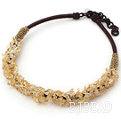 6*8mm citrine chips beaded necklace