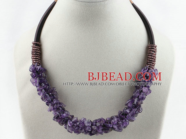 6*8mm amethyst chips necklace