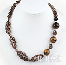 smoky quartze tiger eye necklace with lobster clasp under $ 40