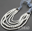 fashion multi strand white shell beads necklace under $ 40