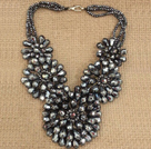Gorgeous Elegant Multi Strand Gray Crystal Flower Statement Party Necklace