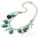 turquoise metal chain necklace with cross