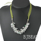 white crystal aventurine necklace with ribbon