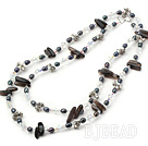 39.3 inches long style black pearl and crystal necklace
