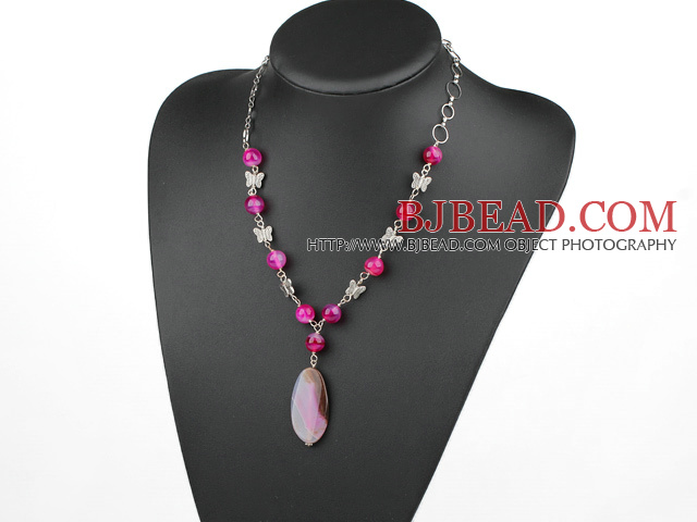 pink agate necklace with extendable chain