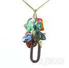 colorful pearl and shell necklace with extendable chain