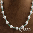 new style white stone and turquoise beaded necklace under $ 40