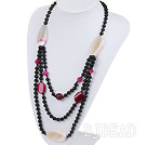 new style multi strand pink and black agate neckalce