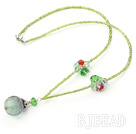 lovely crystal and rainbow flourite neckalce