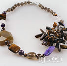 Fabulous new style tiger eye smoky quartze and crystal necklace under $ 40