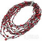 multi strand red color coal black glass beads beaded necklace  under $ 40