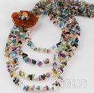Fabulous flower style  four strand multi color stone chips beaded necklace