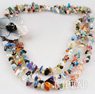 gorgeous three strand multi color stone chips necklace with shell flower