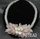 Clear Crystal and White Freshwater Pearl and White Lip Shell and Rose Quartz Flower Party Necklace under $ 40