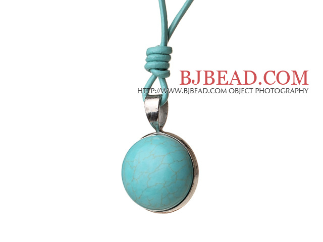 Simple Fashion Style Blue Turquoise Pendant Necklace With Blue Leather