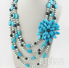 Big Style Multi Strand Pearl and Blue Turquoise Flower Necklace
