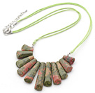 8*35mm green gem beaded necklace with extendable chain