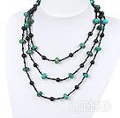 multi strand black agate and phoenix stone necklace