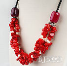 red coral white pearl and agate beaded necklace under $ 40