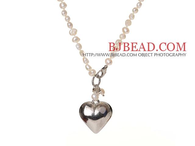 Trendy Elegant Natural White Potato Shape Pearl Heart Shape Pendant Necklace