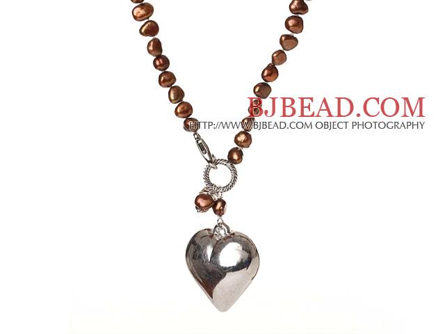 Trendy Elegant Natural Golden Color Potato Shape Pearl Heart Shape Pendant Necklace