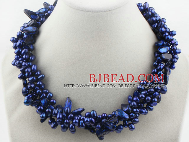 Multi Strands Dark Blue Freshwater Pearl and Teeth Shape Dark Blue Pearl Twisted Necklace