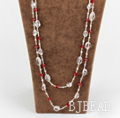long style multi strand white and red crystal necklace under $ 40