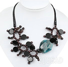 gorgeous garnet somy quartze agate necklace